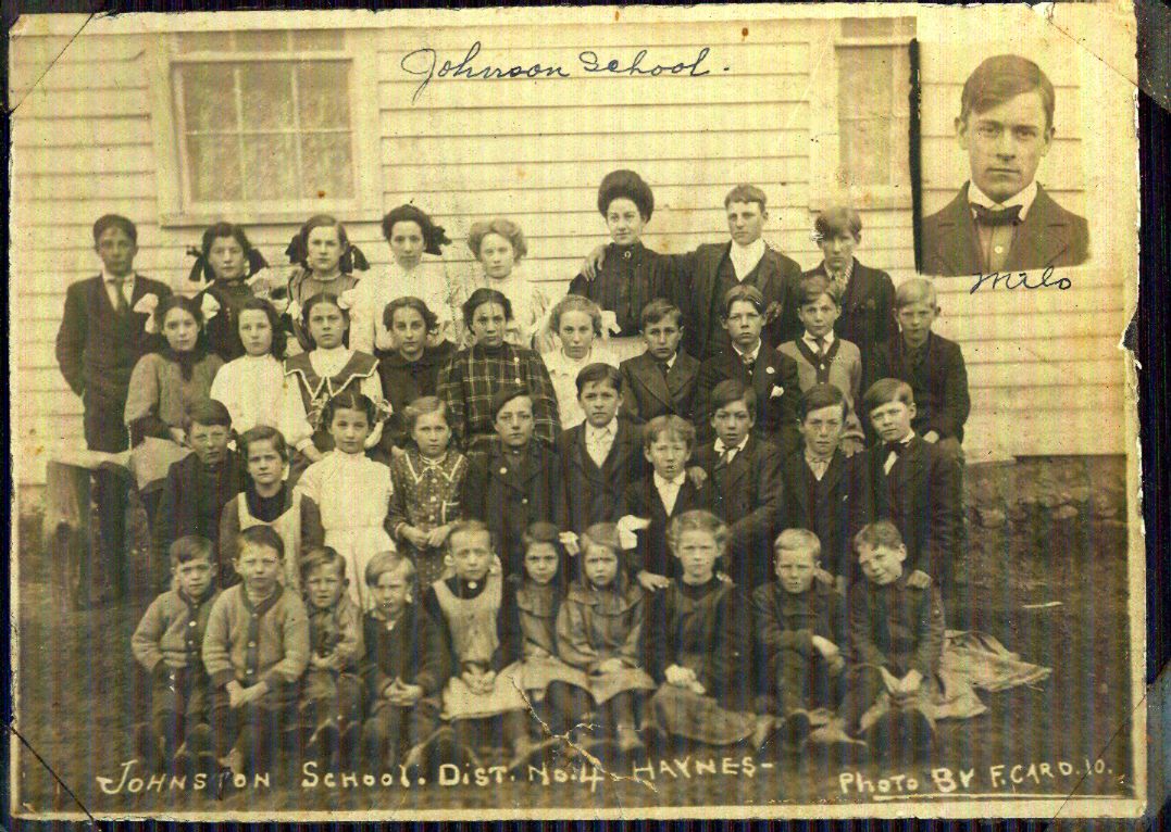 Class photo @ Johnson Schoolhouse in Haynes, Alcona County, Michigan, 1910
